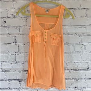 UEC Guess brand peach colored tank sheer detail XS